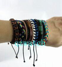 Lots 10 pcs Mixed Style Surfer Cuff Ethnic Tribal Leather Bracelets Wholesale