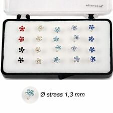 1 Orecchini Piercing Naso Nasini Fiore Argento 925 cristallo colorato 4 mm