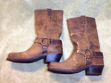 Frye Distressed Leather Harness Boots Buckskin 8 M Engineer Harley Riding Biker