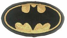 "Batman Logo Large 11"" Wide Sequin Iron on Jacket Patch"