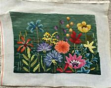Multicolored Flowers Floral Needlepoint & Crewel Completed