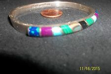 Malachite Onyx gem stones Taxco Sterling Silver 925 Bangle Bracelet Hinged td 96