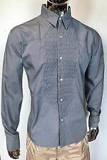 BUDDHIST PUNK Designer TUXEDO Dress Shirt GRAY Button Front SIZE 2