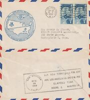 US 1953 NON STOP FIRST FLIGHT FLOWN AIR MAIL COVER NEW YORK TO LOS ANGELES BOTH