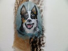Australian Cattle Dog-Hand painted rare turkey feather, by artist W. W. Hoffert