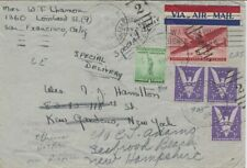 World War II Airmail envelope San Francisco to New York Forwarded Seabrook Beach