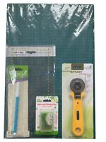 Patchwork Quilting Started Kit - Cutting Mat, Rotary Cutter, Pins, Ruler