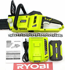 "RYOBI 40 VOLT CORDLESS 14"" IN BRUSHLESS CHAINSAW w/ BATTERY & CHARGER RY40502"