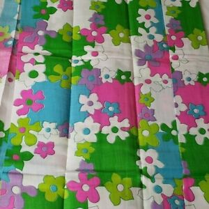 Vintage MCM MOD Serano Linen Crease Resistant Fabric 45X90 Blu Pink Green Flower