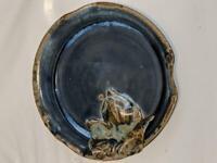 Australian Pottery - Turned glazed bowl with Leaf Decoration . Maker unknown