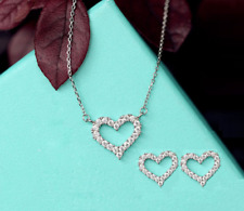 Micro-inlay CZ 925 Sterling Silver Love Heart Charm Jewelry Set Necklace&Earring