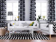"New White Black Curtains 2 pairs 4 Panels 57 x 98"" Ikea Kajsamia Eyelet Heading"