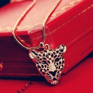 18K Rose Gold GF Made With Swarovski Crystal Large Leopard Head Long Necklace
