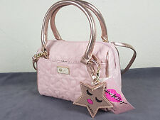 NWT LUV BETSEY BY B. JOHNSON WOMEN PINK STAR QUILTED MINI BARREL CROSSBODY BAG