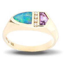 Kabana Closeout 14KY inlaid Opal and Amethyst Ring w diamonds sz 7 reg $1,100.00