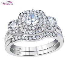 Wedding Rings Engagement Ring Set For Women 1.3ct Round White Aaa Cz Size 7