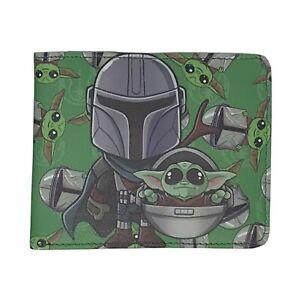 Star Wars Mandalorian and Baby Yoda/Grogu Green Men's Bifold Wallet
