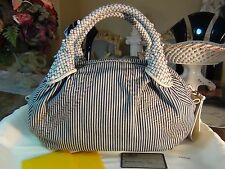 US seller Auth FENDI STRIPE DENIM LEATHER SMALL SPY HAND BAG PURSE GOOD