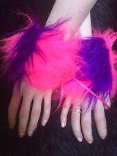 Wrist Cuffs Bright Pink & Purple Stripe Cheshire Cat Luxury Fur One Size Unisex