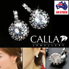 CALLA 925 Sterling Silver Dangle Huggies Crystal Rhinestone Earrings AU