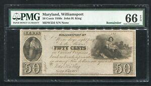 1840'S 50 CENTS MARYLAND, WILLIAMSPORT OBSOLETE REMAINDER PMG GEM UNC-66EPQ.