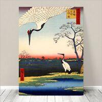 "Beautiful Japanese Art ~ CANVAS PRINT 24x18"" Hiroshige Cranes and ponds"
