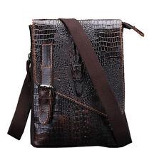 Men Leather Crocodile Shoulder Messenger Bag Hip Bum Belt Waist Hook Fanny Pack