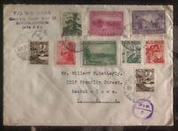 1943 Netherlands Indies Cover To Keokuk Iowa USA Skandia Label