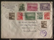 1943 Netherlands Indies Cover To Keokuk Iowa USA Skandia Label