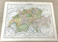 1891 Antik Map Of Switzerland Swiss Cantons Die Alps Bern Alte 19th Jahrhundert