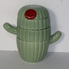 Set of 4 Decorative Cactus Shaped Ceramic Kitchen Measuring Cups NEW