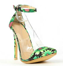 Olga-1b Black Green Orange Floral Shoes Lucite Pointy Toe Pump Stiletto Heels