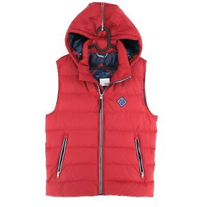 GANT Red The Active Cloud Hooded Vest Waistcoat Size S