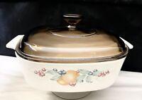 Vintage Corning Ware Abundance A-2-B Casserole Dish 2 Qt with Pyrex Amber Lid