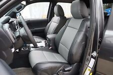 TOYOTA TACOMA 2016- BLACK/GREY LEATHER-LIKE CUSTOM MADE FIT FRONT SEAT COVER