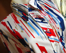 LARGE True Vtg 70s STRETCH POLYESTER GROOVY PRINT Collared Shirt Top Womens