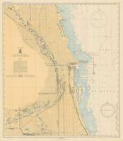 Lake Michigan - Chicago Harbor - Historical Map - 1944
