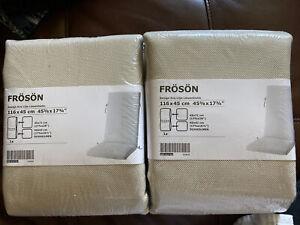 2 Ikea Froson Slip Cover Seat/ Back Pad Outdoor Beige 45 5/8 x 17 3/4 Duvholmen