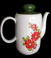 Vintage Seltmann Weiden Bavaria Porcelain Teapot Coffee Pot Red Green Floral