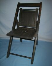 Vtg Antique Small Black Wood/Wooden Slat  Folding/Collapsible Child's Chair!