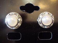 11mm Pearl Rhinestone Cyrstal Rondel and Rivoli Button Earrings (B-23)