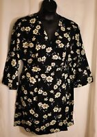 women's k. by kersh wrap dress size large ties inside and out black print new