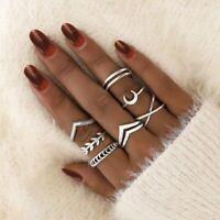 7pcs/Set Simple Leaf Moom Silver Knuckle Midi Finger Tip Rings Set Women Jewelry
