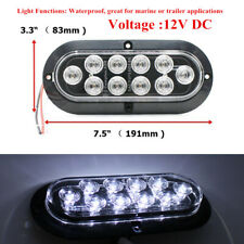 "1 Pair 12V 10LED 6"" White Reverse Backup Light Car Truck Oval Surface Mount Trim"