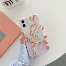 For iPhone 12 Pro Max 11 XS XR X 8 7 Plus Marble Silicone Ring Hold Case Cover