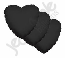 "3 pc - 18"" Solid Black Heart Balloon Wedding Baby Bridal Shower Birthday Luau"