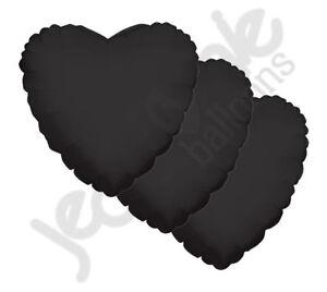"3 pc - 18"" Solid Black Heart Balloon Wedding Baby Bridal Shower Birthday Luau"