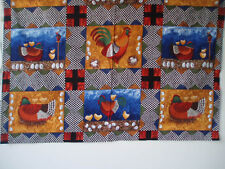 jewel tone ~ CHICKEN ROOSTER CHICK ~ folk art panel fabric timeless treasures