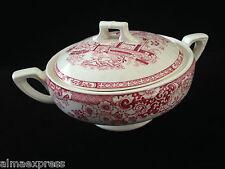 Rare Myott Staffordshire England China RED Indiana - SUGAR BOWL W/ LID, LIDDED