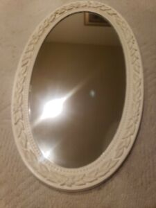 "VTG Large Ornate Solid White 19"" x 33"" Oval Beveled Wall Mirror Hoyne Industries"